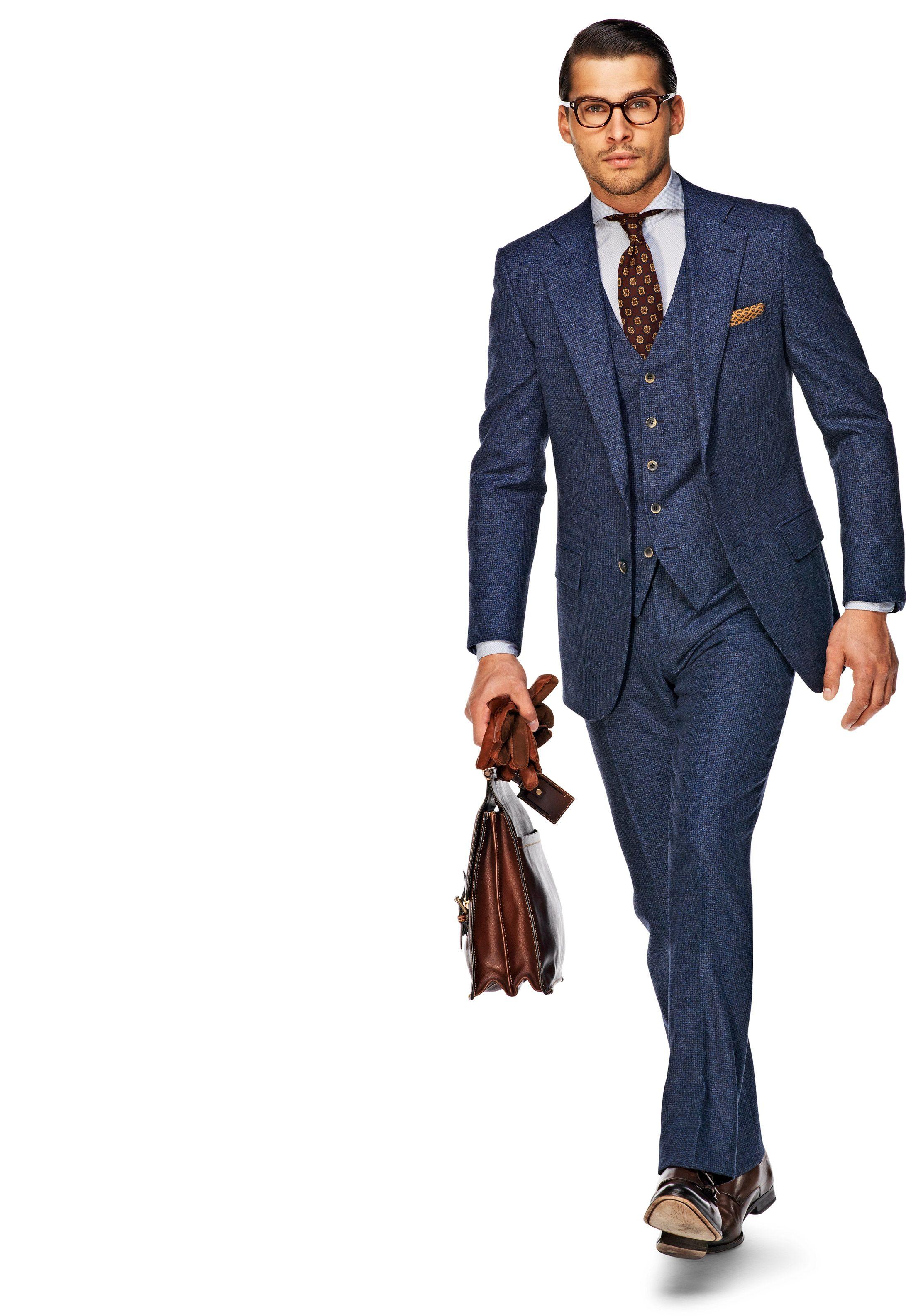 1567e5f27d01 Suit Blue Houndstooth check Lazio 3D P3361 | Suitsupply Online Store ...
