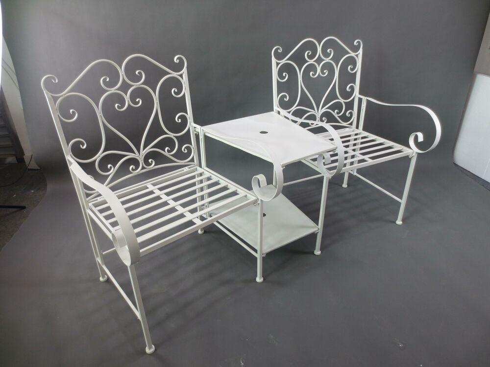 Outdoor Garden White Metal Bench Table Patio Furniture Bench