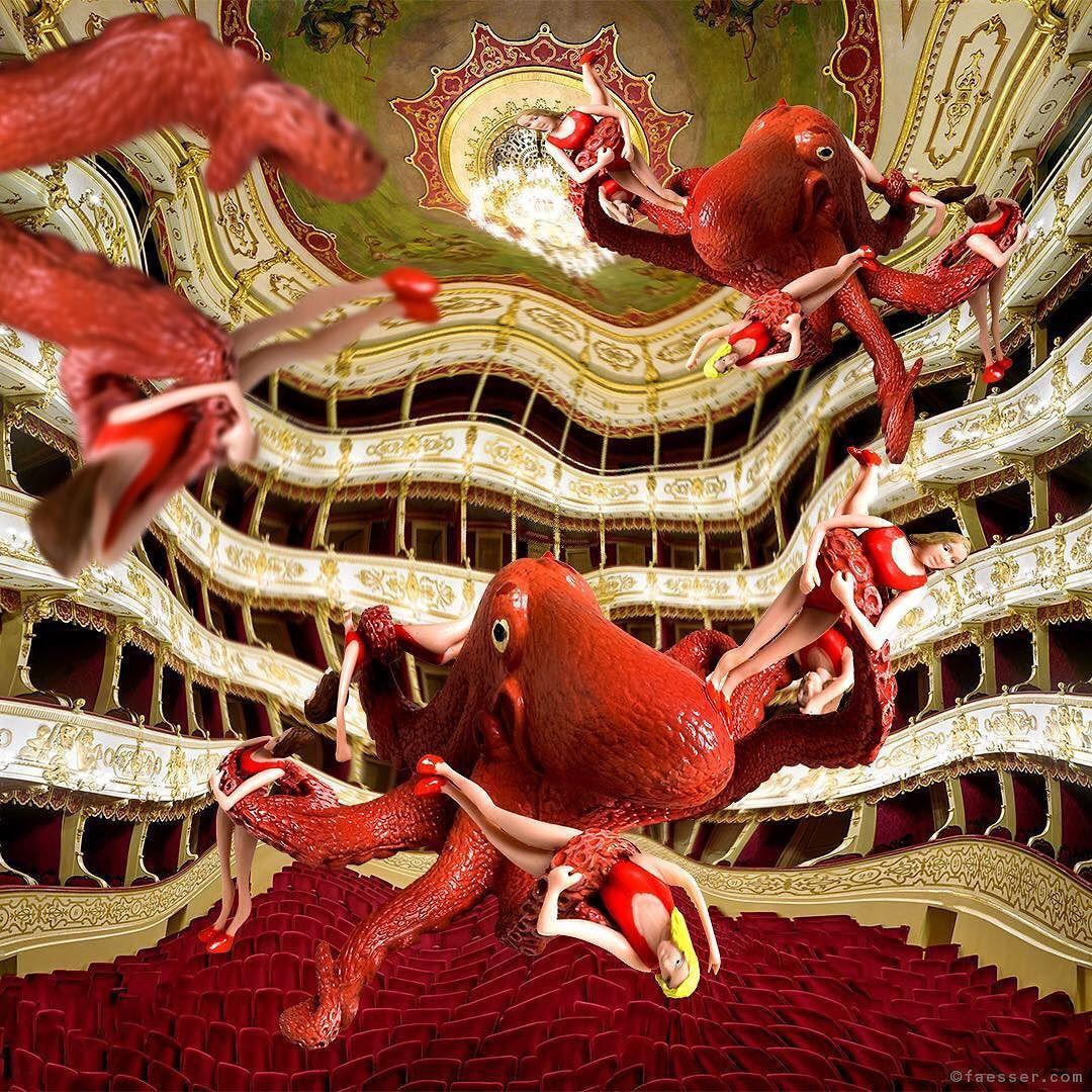 Octopussies exploring the Theater Regio di Parma in Italy. #rolandfaesser #baywatch #octopussy #surrealism #scifi #urbanart #publicart #contemporaryart https://faesser.com/