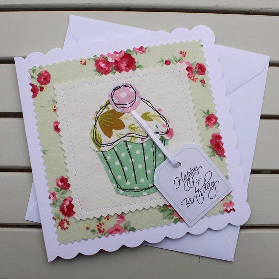 Cupcake Birthday Card In Green Handmade Original Textile Card