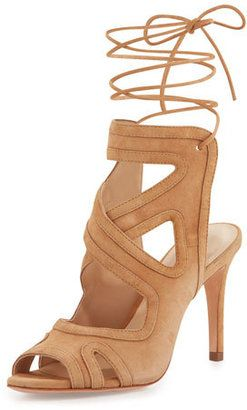 Loeffler Randall Delfine Suede Lace-Up Sandal, Almond - $131.00