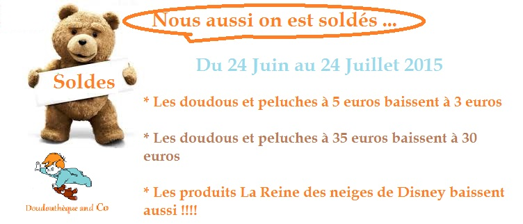 soldes été 2015 doudous et peluches DoudouThèque & Co boutique de SOS doudous