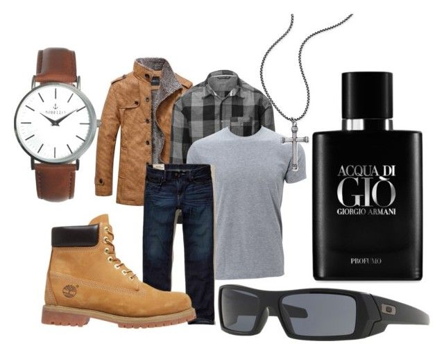 """Tough guy"" by melissa-mcvey-courtemanche on Polyvore featuring Simplex Apparel, Hollister Co., Timberland, Steve Madden, Oakley, Giorgio Armani, men's fashion and menswear"
