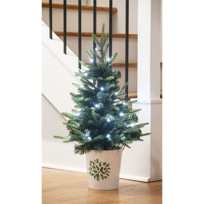 Wholesale Lighted Table Top Tree With Ceramic Bucket Evergreen Enterprises Holiday Decor Tree
