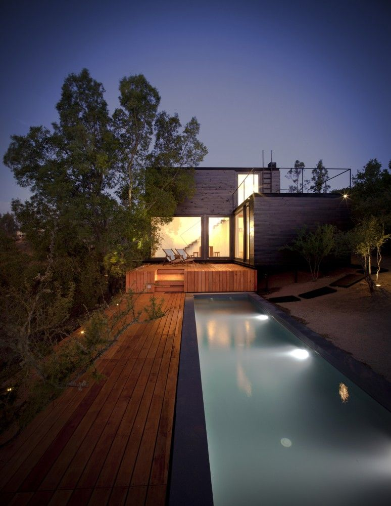 Pangal #Cabin / EMa #Arquitectos located in Casablanca, Chile.  Beautiful use of #wood exterior with back deck and pool.  More of a rustic modern feel.