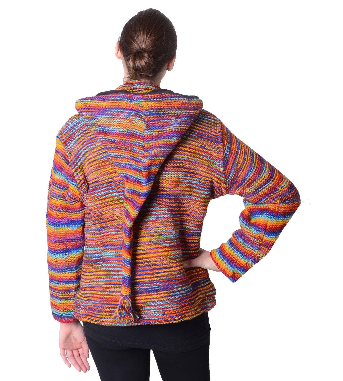 f8d507ef18 Damen Wolljacke Hippie Goa Strickjacke mit Zipfelkapuze Mehrfarbig – Bild 2