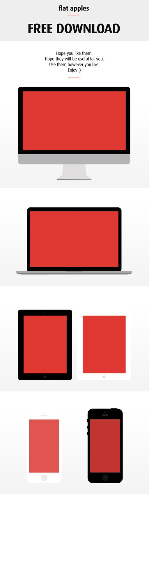 Flat Apple Devices (Free PSD)