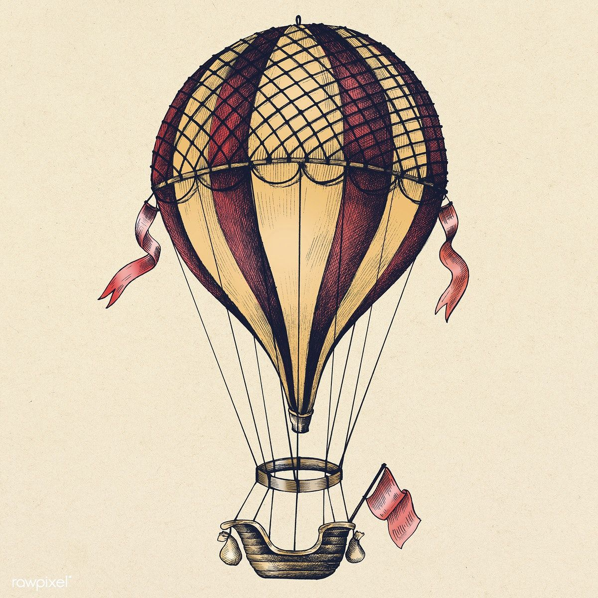 Download premium illustration of Hot air balloon vintage