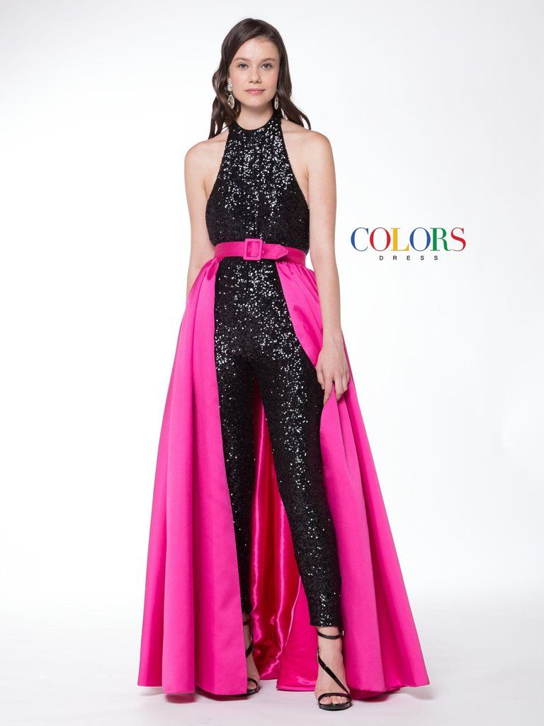 1f1a9581e6f Colors 1729 Sequin Jumpsuit with Over Skirt Prom Evening Dress ...