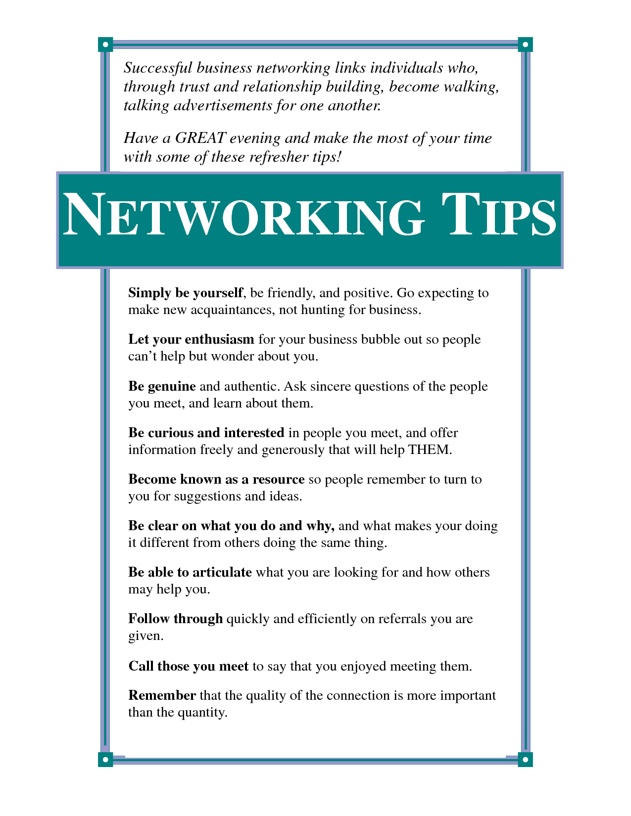 Useful networking tips. Network marketing success
