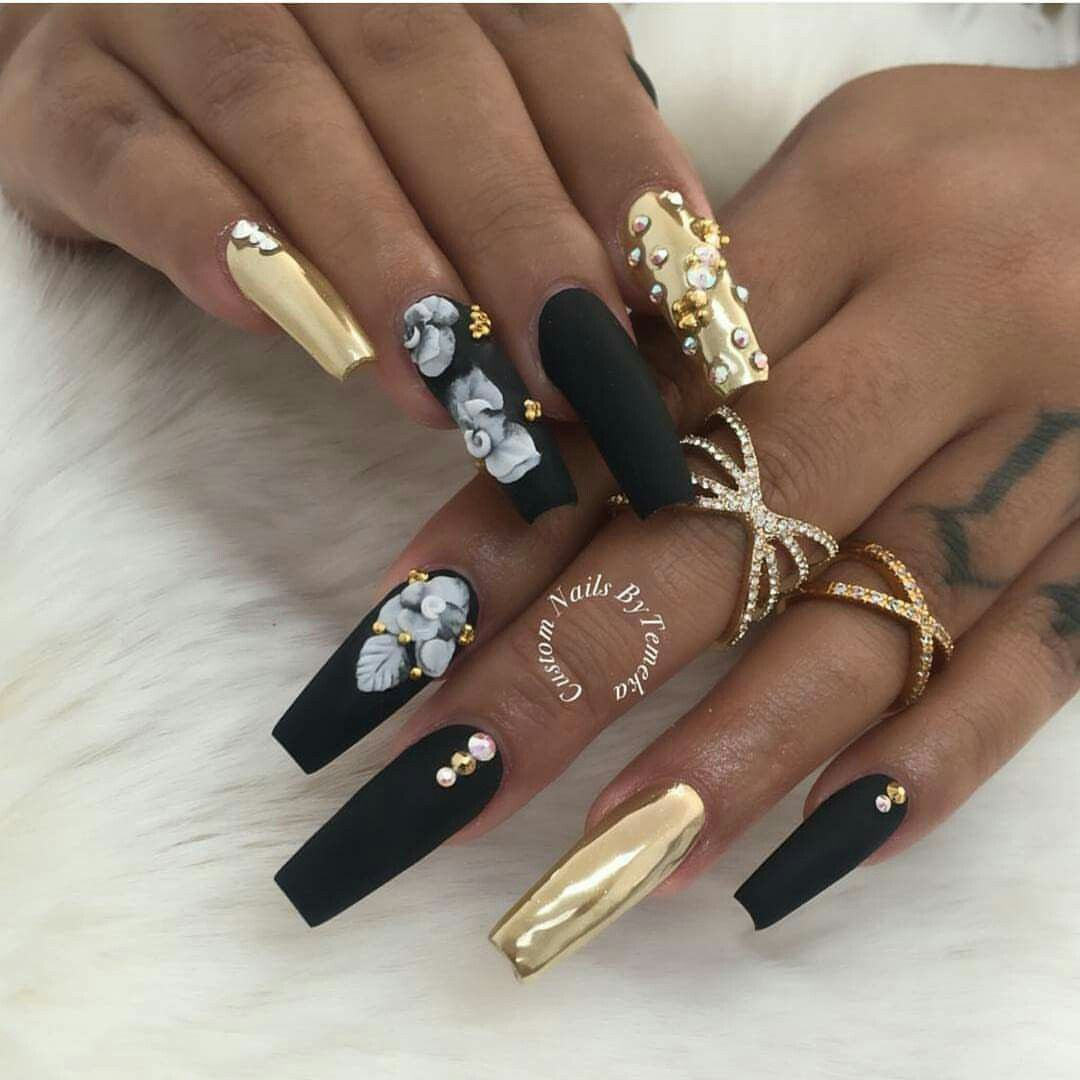 Black And Gold Coffin Shape Nails Gorgeous Nails Nail Designs