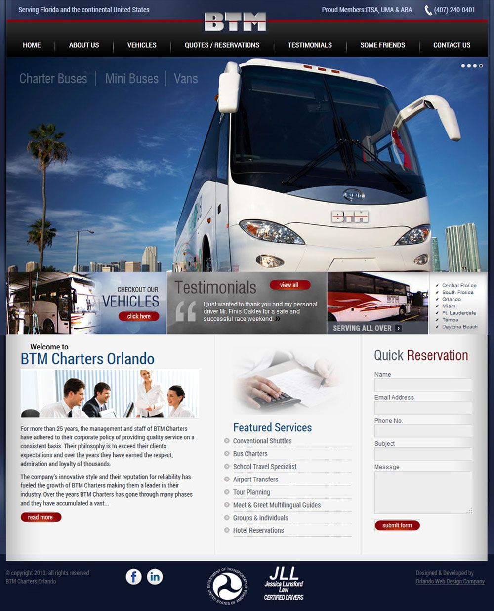 Imperial Web Solutions Developed Btm Charter Buses Website Portfolio Web Design Internet Marketing Service Mini Bus