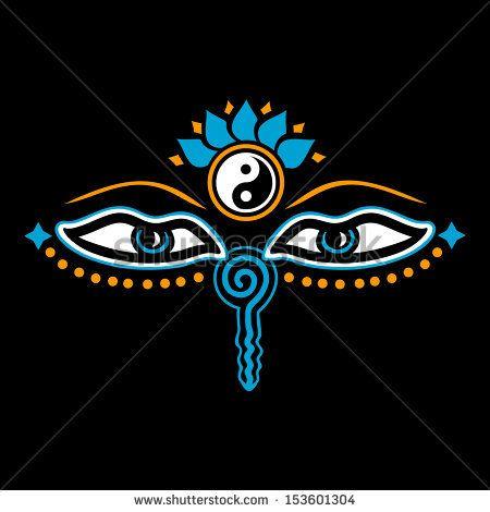 Eyes Of Buddha Symbol Wisdom Enlightenment Negative 3c Stock
