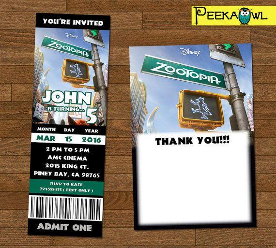 Printable Disney Zootopia 2016 movie invitation ticket by PeekaOwl - movie ticket invitations printable free
