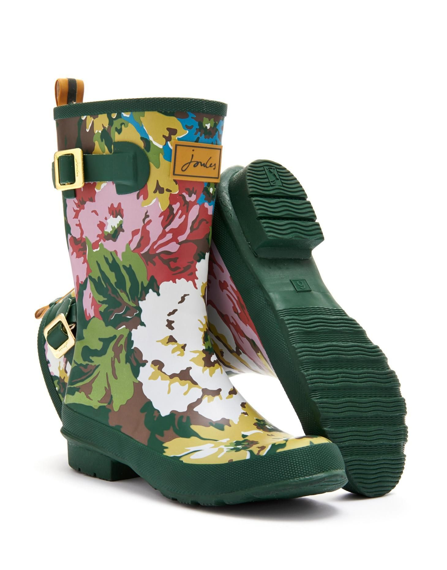 Joules Womens Mid-Calf Welly, Green Cambridge Floral. A new mid ...