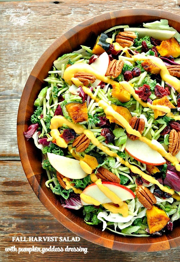 Fall Harvest Salad with Pumpkin Goddess Dressing This Fall Harvest Salad with Pumpkin Goddess Dressing is a healthy Thanksgiving Side Dish recipe!