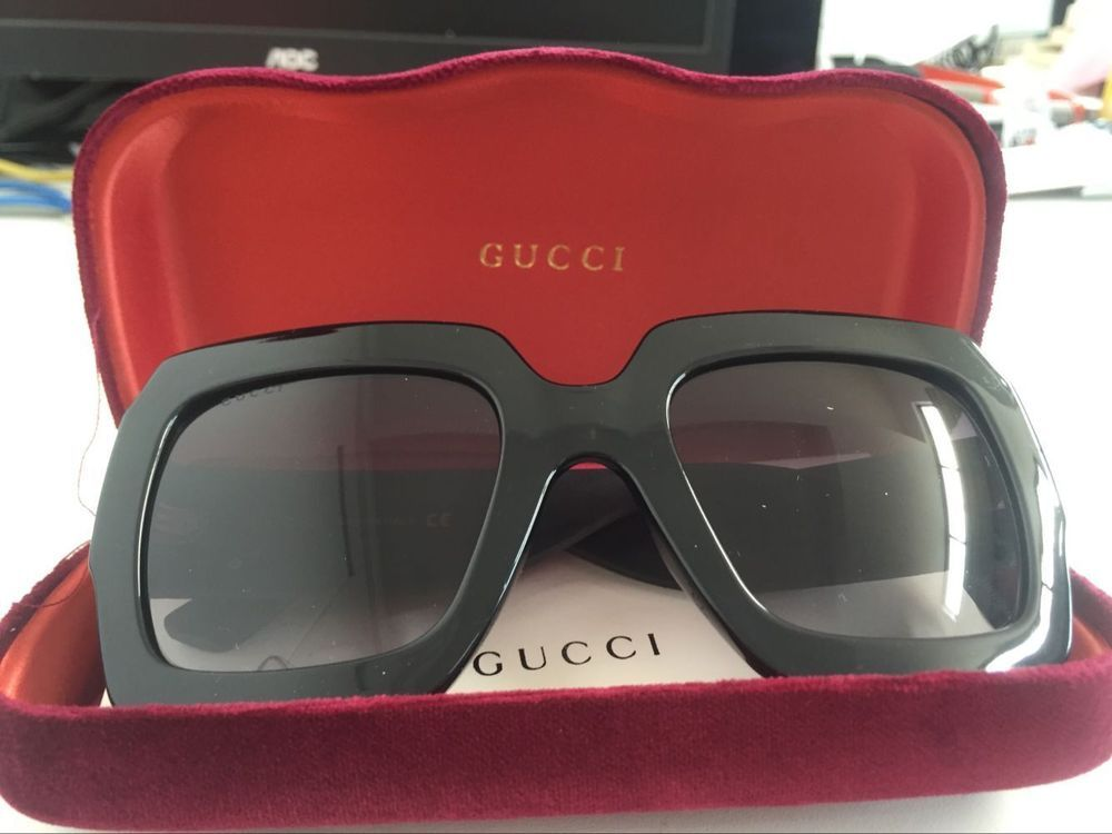 215c0f6b5be Gucci GG0102S 001 Black Plastic Square Sunglasses Grey Gradient Lens 54MM   fashion  clothing  shoes  accessories  womensaccessories ...
