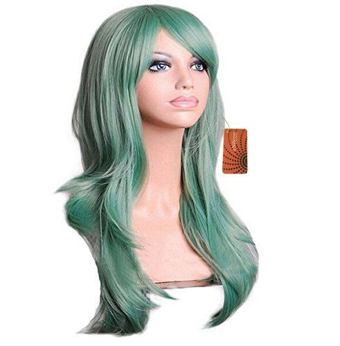 Amazon.com : Enilecor 28 Inch 70cm Long Cospaly Wigs Curly Full Wig Universal Big Wavy Women Heat Resistant Spiral Hair Wig for Halloween, Christmas Custom Cosplay Wig (Green) : Beauty