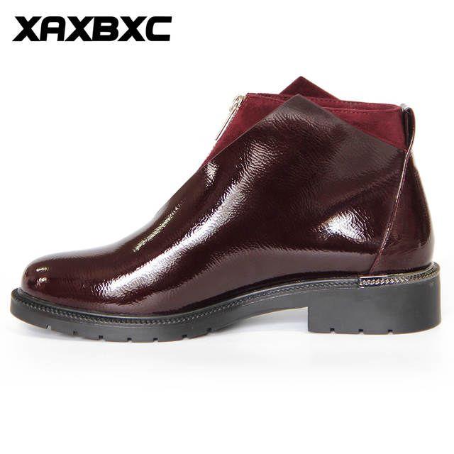 c0d191140ac3 XAXBXC 2018 Осень Зима Ретро Кожаные броги оксфорды короткие сапоги женская  обувь на молнии с круглым