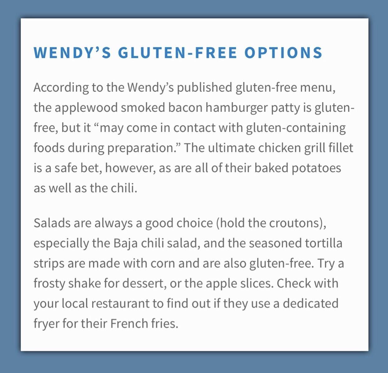Gluten Free Options . . . Wendy's Gluten free menu