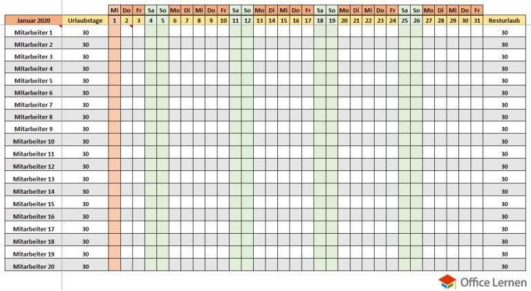 Excel Urlaubsplaner Kostenlose Vorlage Zum 10