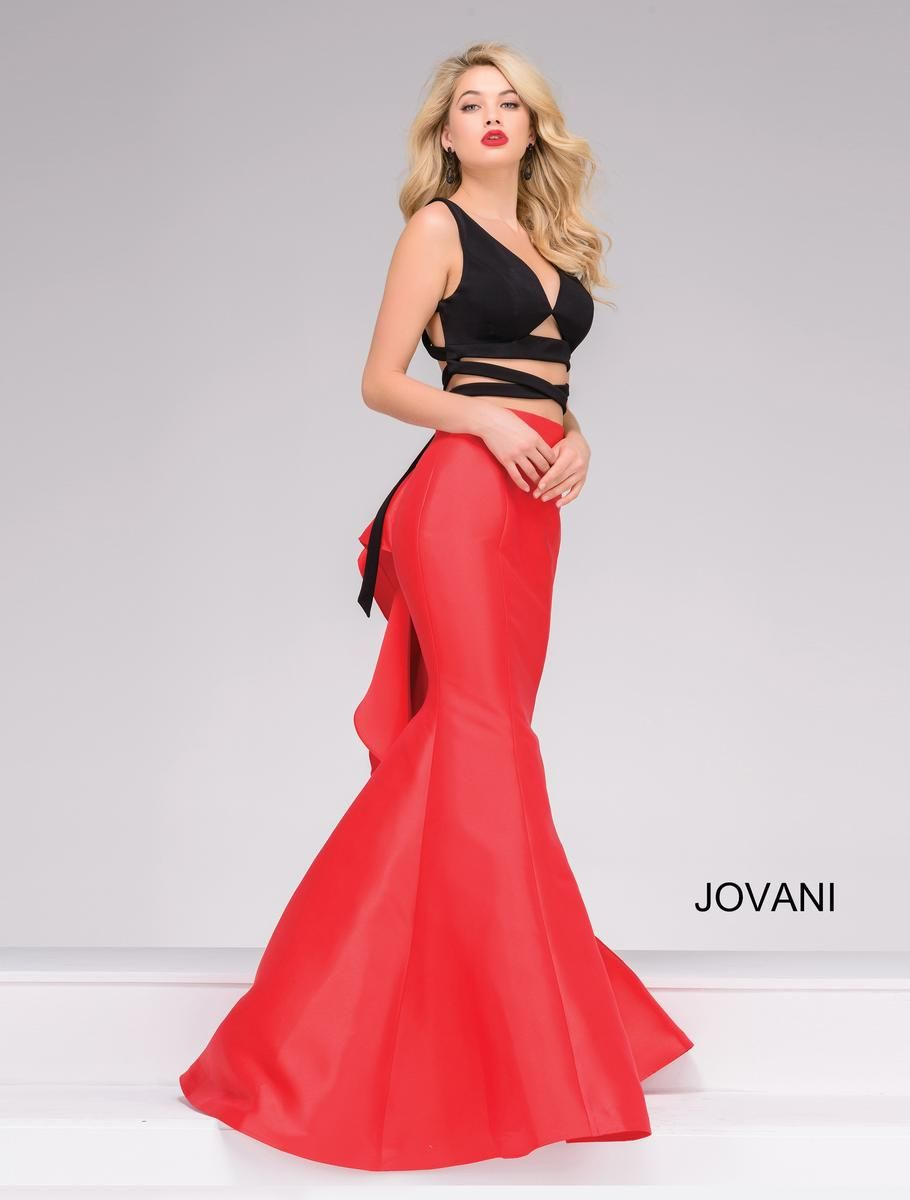 Jovani Prom 42475. Black and Red Sexy Two-Piece Mermaid Prom Dress ...