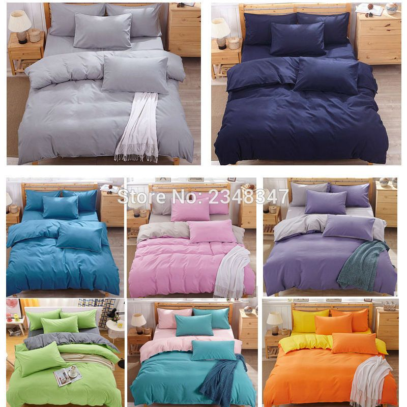 Fashion 4pcs Solid Color Single Twin Double Full Queen Size Bed Quilt
