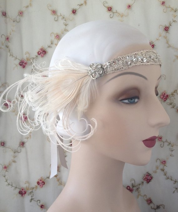 1920 s rhinestone headpiece antique silver bridal beaded flapper headband  with ivory peacock feather 35bed0369be