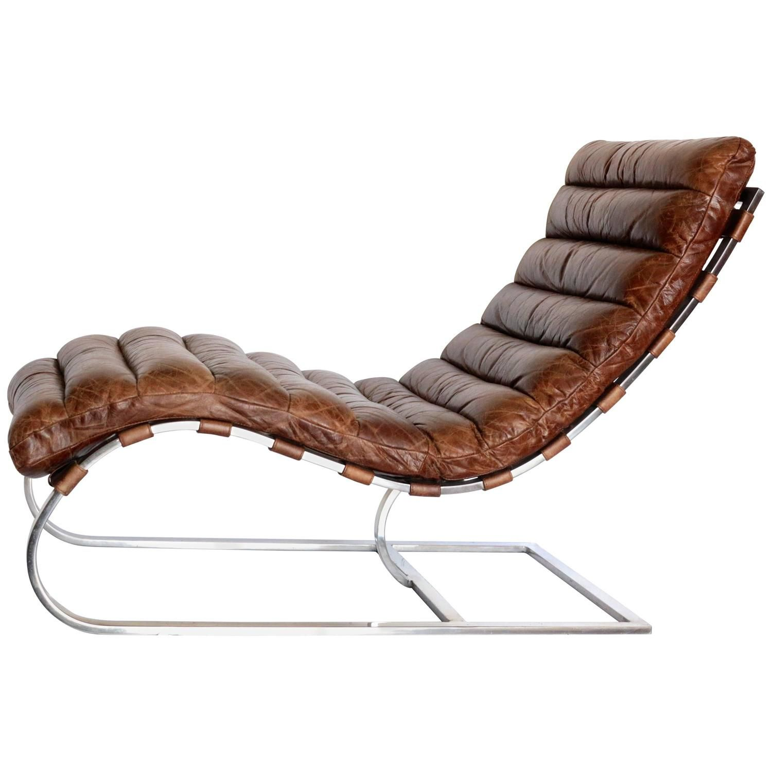 French Distressed Tufted Leather Chaise Longue Chair With Chrome