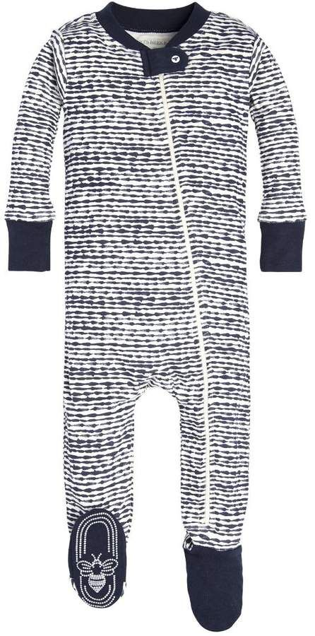 a9d0fdeafc4c Brush Strokes Organic Baby Zip Up Footed Pajamas  itty snap bees ...