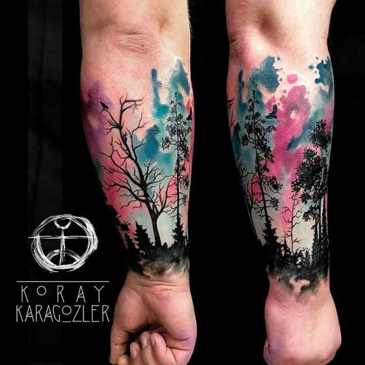 Avant Bras Couleurs Paysage Tattoo Tatouage Tatouage Foret