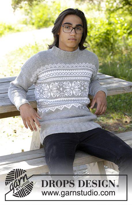 Vintermys Pull homme tricoté en DROPS Alaska, avec