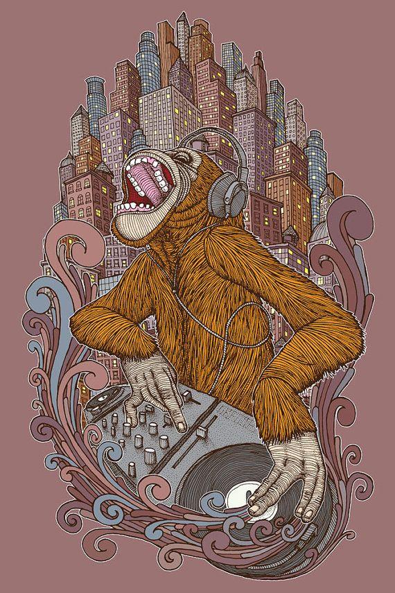 Monkey DJ by ChuckU on Etsy