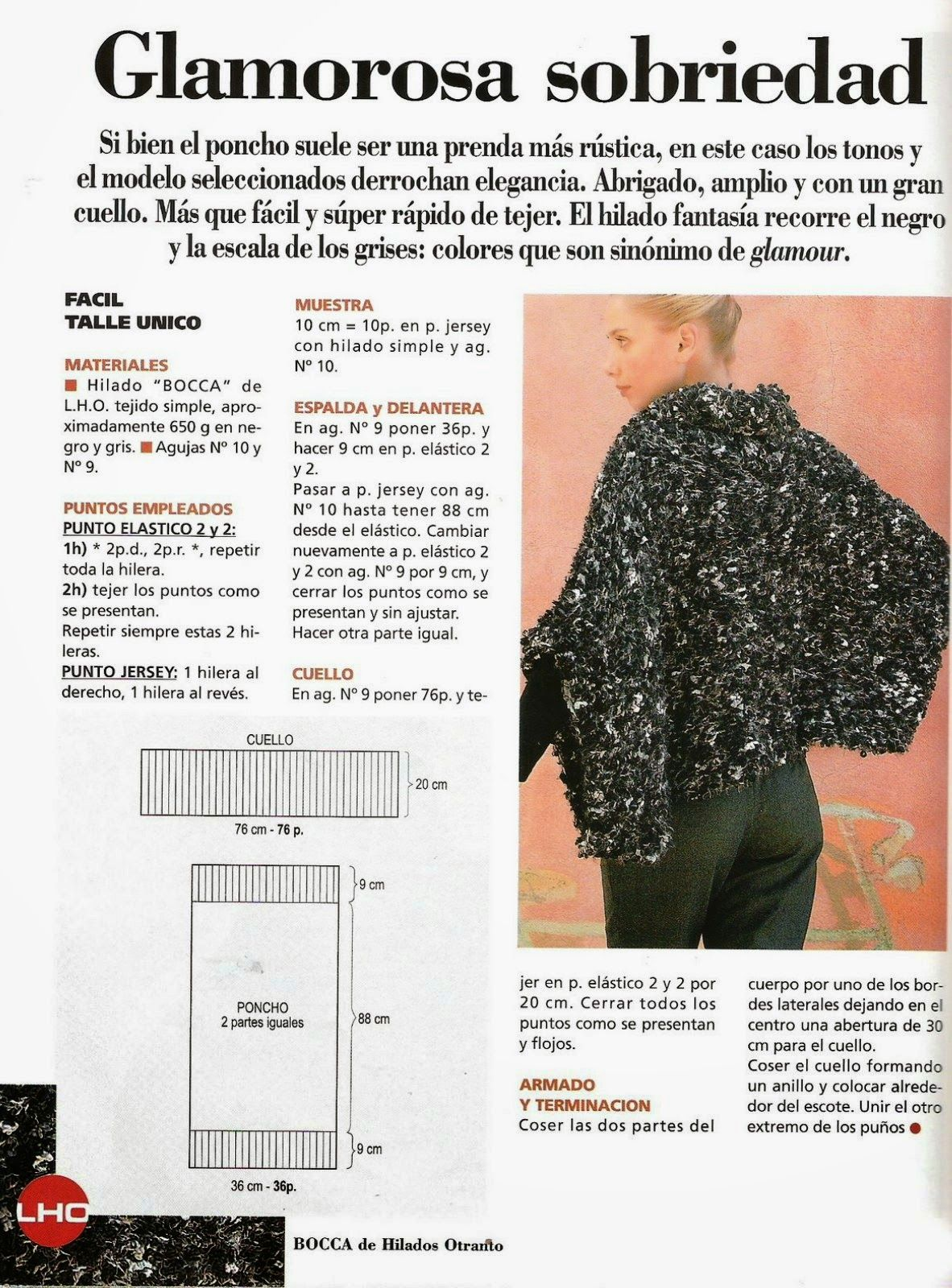 Poncho crochet glamour y sobriedad - Patrones Crochet | Ponchos ...