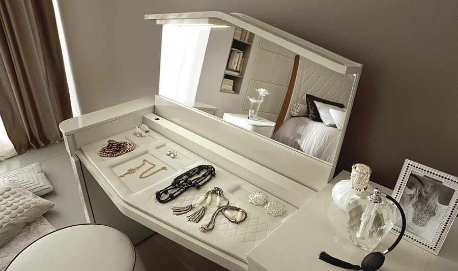 Bedroom Console With Lift Up Top Mirror And Concealed Shelves