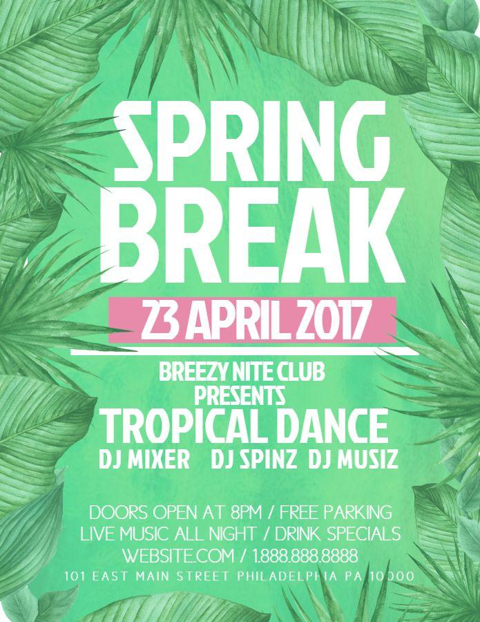 Spring Break Dance Party Custom Flyer Template Spring Break