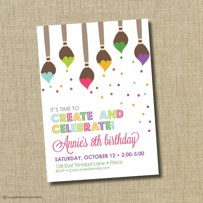Art Birthday Invitations | My Birthday | Pinterest | Art birthday ...