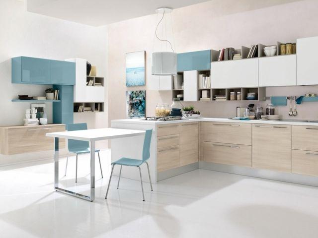hellblaue farbe beige unterschänke küche planen italienischer stil, Hause ideen