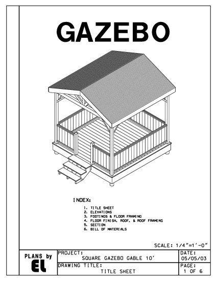 4 Sided Gazebo Gable Roof Building Plans Blueprints 10 Do It Yourself Diy Gazebo Gazebo Plans Building Roof