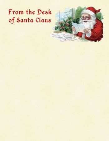 Printable Santa Letter #14 - Vintage From the Desk of Santa Claus - free xmas letter templates