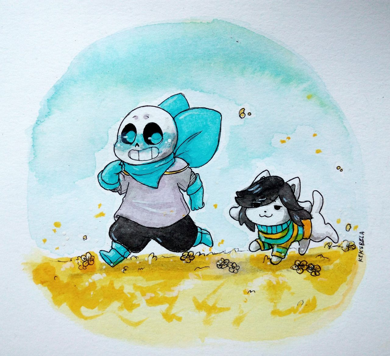 my first try with watercolors QwQ  Underswap Sans and Temmie ❤