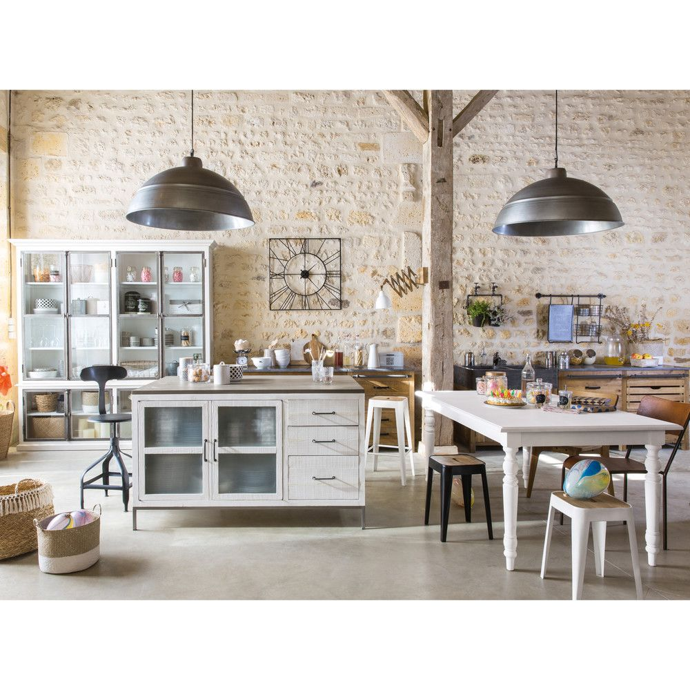 Cache Pot En Metal H 48 Cm Maisons Du Monde Meuble Cuisine Salle A Manger Industrielle Decoration Salle A Manger