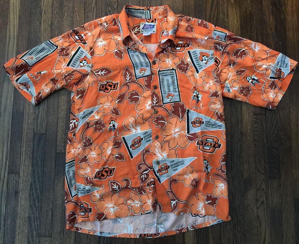 791ab3bb9 Reyn Spooner Sports OSU Hawaiian Shirt Oklahoma State Cowboys Stillwater  Size M | eBay