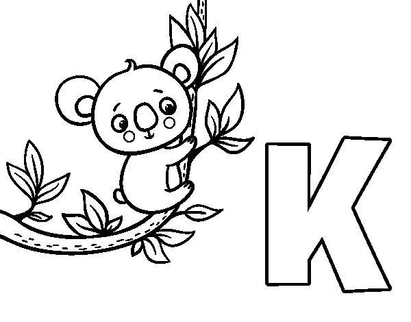 Dibujo de K de Koala para Colorear | letras | Pinterest