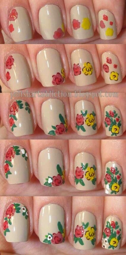 Vintage Flower Nail Art Tutorial Piku