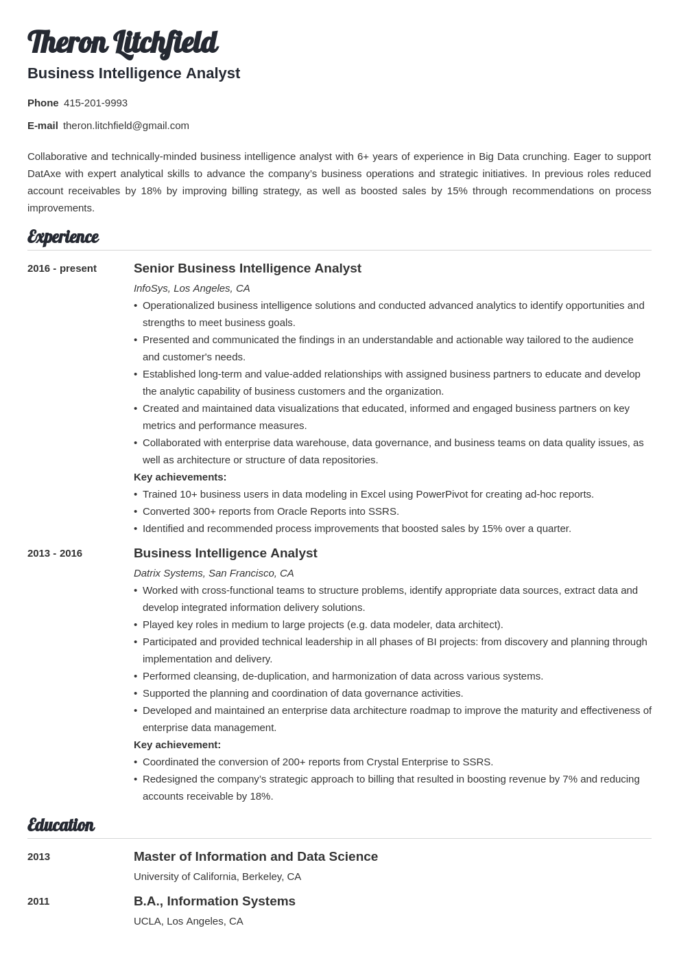 Business Intelligence Resume Example Template Valera Business Intelligence Business Intelligence Analyst Job Resume Examples