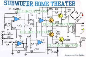 subwoofer home theater power amplifier ic amp pinterest home lm324 pedal circuit subwoofer home theater power amplifier circuit diagram