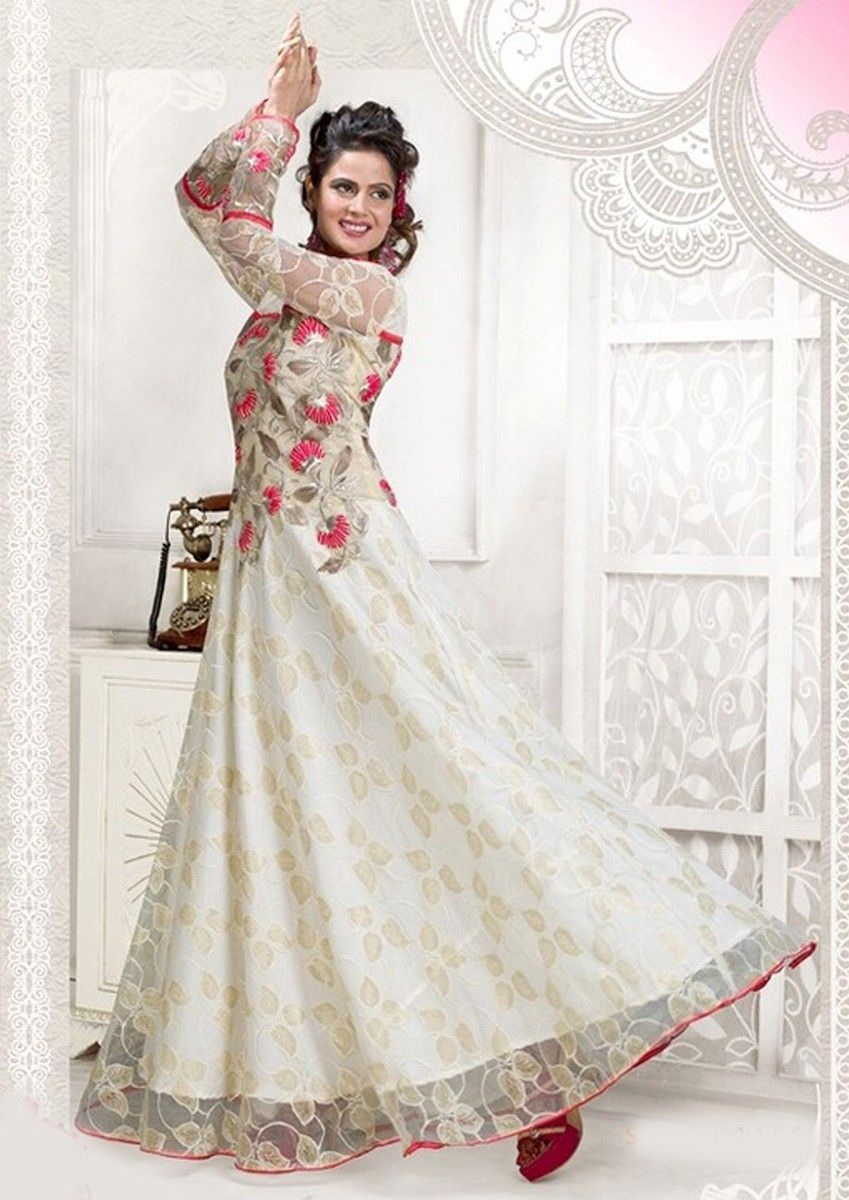 06aadb4eb7 Net Machine Work White Semi Stitched Gown - 1106 | Online Gown For ...
