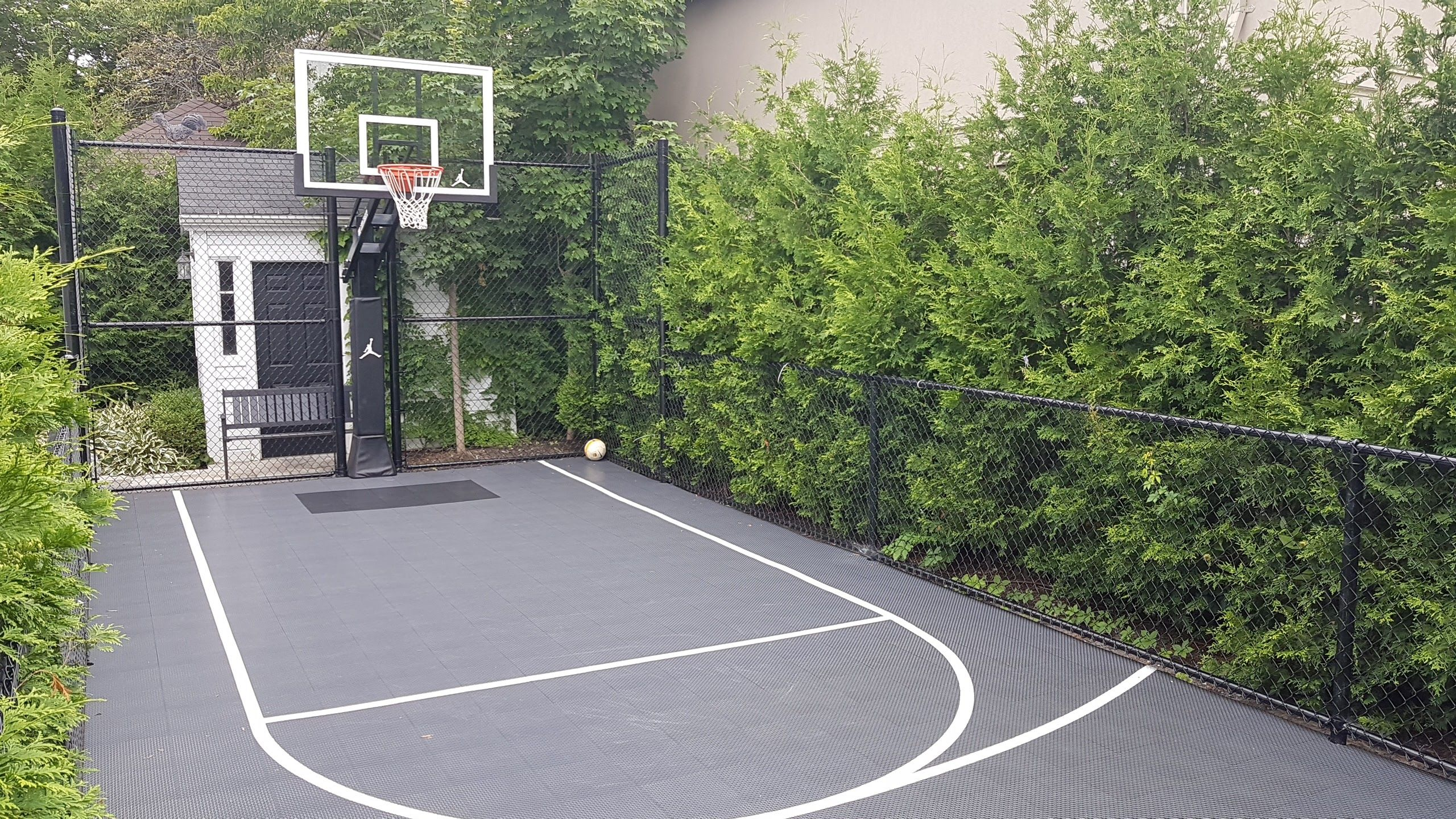 15 X 37 Basketball Court Makes Great Use Of A Side Yard That Would Otherwise Go Unused Backyard Court Basketball Court Backyard Outdoor Basketball Court
