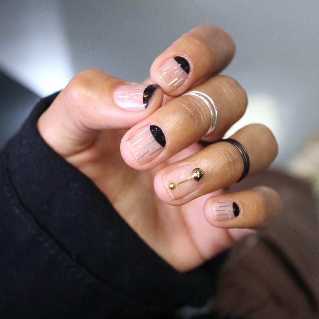 Unistella Half Moon Nail Design Black And Clear Minimal Nail Design Gold Manicure Minimalist Nails Black Nail Designs